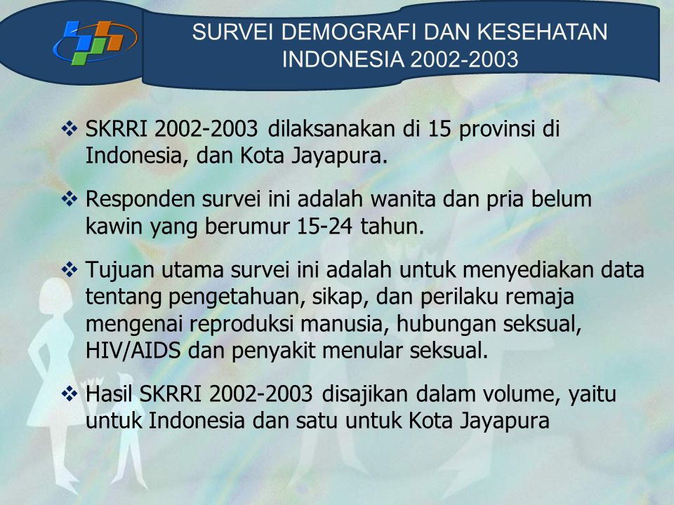  SKRRI 2002-2003 dilaksanakan di 15 provinsi di Indonesia, dan Kota Jayapura.  Responden survei ini adalah wanita dan pria belum kawin yang berumur