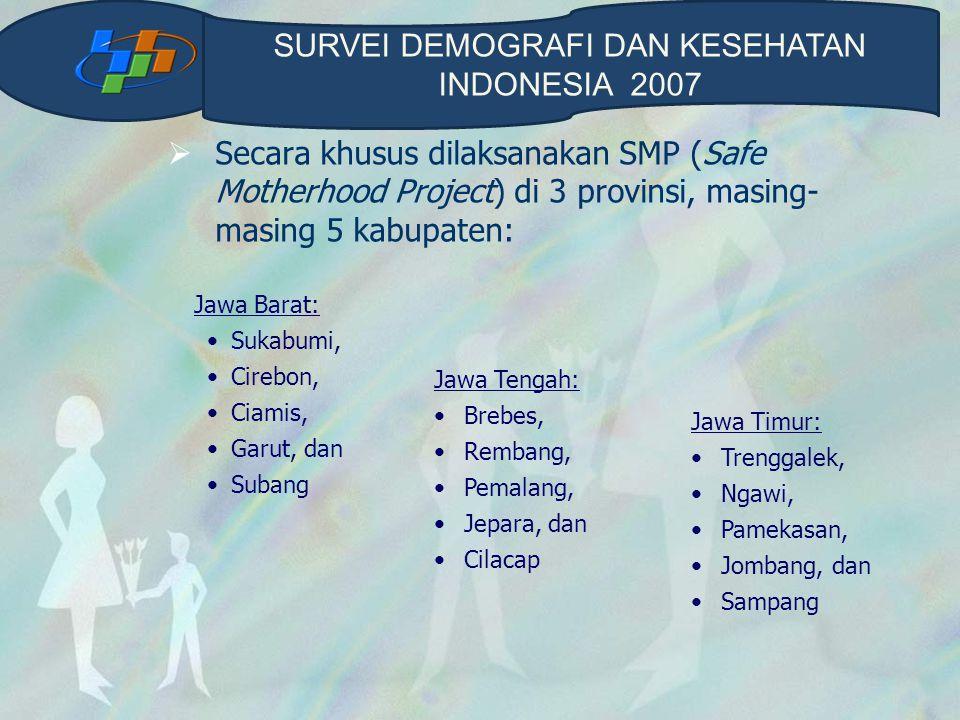  Secara khusus dilaksanakan SMP (Safe Motherhood Project) di 3 provinsi, masing- masing 5 kabupaten: Jawa Barat: Sukabumi, Cirebon, Ciamis, Garut, da