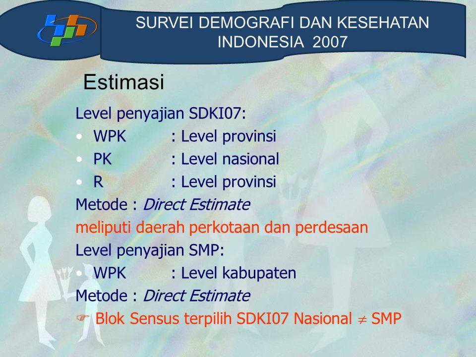 Jumlah Sampel SDKI07 (nasional)  Blok sensus: 1.694  Rumahtangga : 42.350  Responden WPK: 33.880  Responden remaja: 33.880  Responden pria kawin: 12.197 SDKI (SMP)  Blok sensus : 240  Rumahtangga: 6.000 SURVEI DEMOGRAFI DAN KESEHATAN INDONESIA 2007