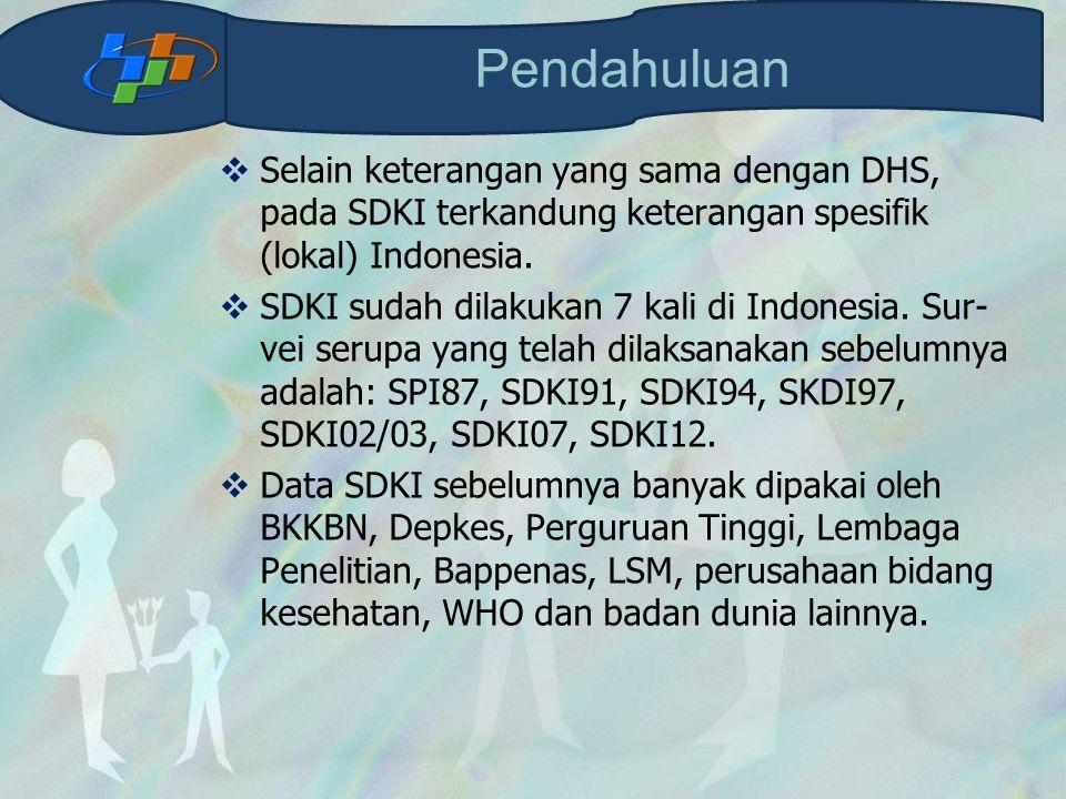  Selain keterangan yang sama dengan DHS, pada SDKI terkandung keterangan spesifik (lokal) Indonesia.  SDKI sudah dilakukan 7 kali di Indonesia. Sur-