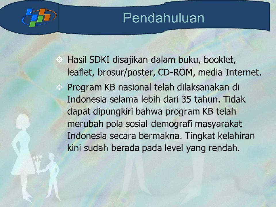  Hasil SDKI disajikan dalam buku, booklet, leaflet, brosur/poster, CD-ROM, media Internet.  Program KB nasional telah dilaksanakan di Indonesia sela