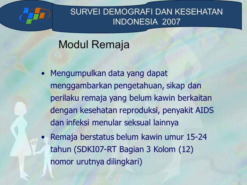 Modul Remaja Daftar SDKI07-R terdiri dari : 1.Latar Belakang Responden 2.Pengetahuan dan Pengalaman Mengenai Sistem Reproduksi Manusia 3.Perkawinan dan Anak 4.Peran Keluarga, Sekolah, Masyarakat dan Media 5.Rokok, Minuman Beralkohol dan Obat-obatan 6.HIV/AIDS dan Infeksi Menular Seksual lainnya 7.Pacaran dan Perilaku Seksual SURVEI DEMOGRAFI DAN KESEHATAN INDONESIA 2007