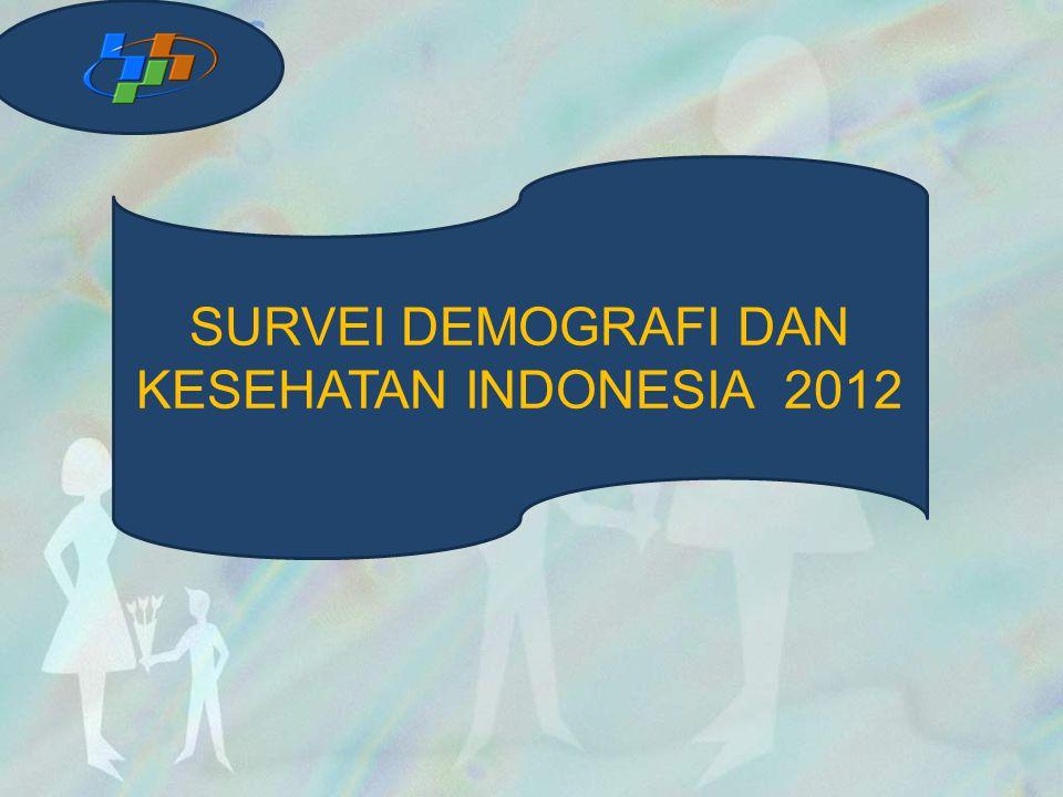 CAKUPAN SAMPEL 44 SDKI 2012 dilaksanakan di seluruh provinsi Indonesia Jumlah sampel blok sensus direncanakan 1.840 blok sensus, realisasi 1.832 Rumah tangga yang diwawancara : 43.852 Eligible WUS yang diwawancara : 45.607 Eligible PK yang diwawancara : 9.306Eligible RP yang diwawancara : 10.980