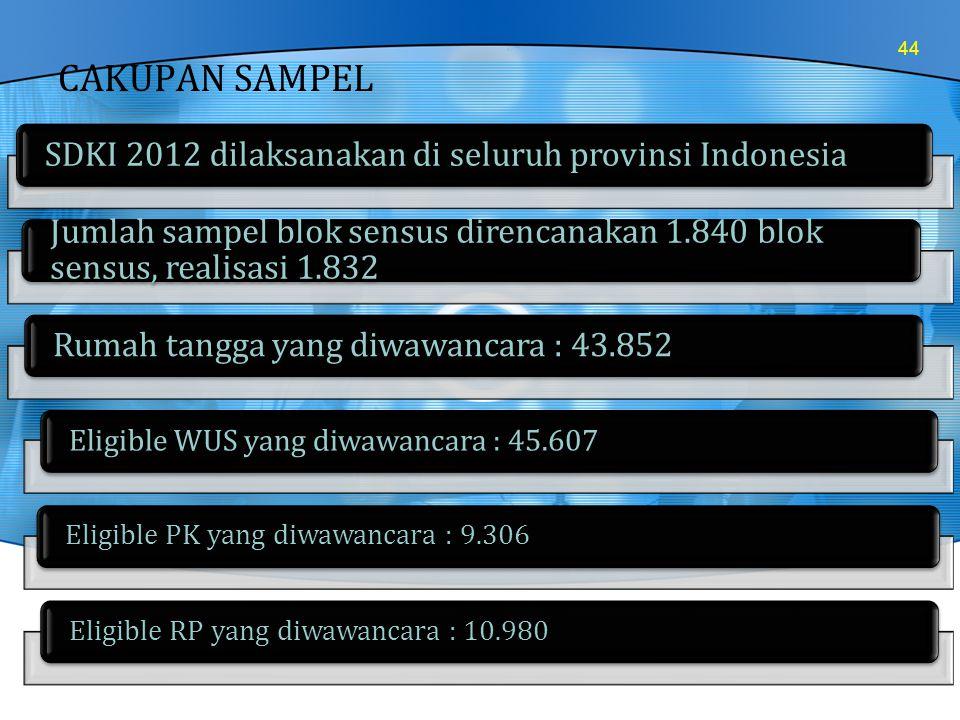 CAKUPAN SAMPEL 44 SDKI 2012 dilaksanakan di seluruh provinsi Indonesia Jumlah sampel blok sensus direncanakan 1.840 blok sensus, realisasi 1.832 Rumah