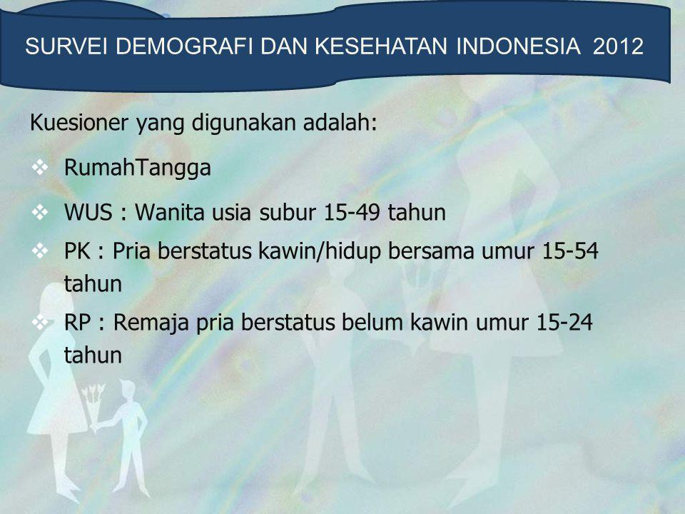 Responden  Wanita Usia Subur 15-49 Tahun Wanita berusia 15-49 tahun yang berada di rumahtangga terpilih  Daftar SDKI12-WUS  Remaja pria belum kawin usia 15-24 Tahun Remaja berusia 15-24 tahun dan belum kawin yang berada di rumahtangga terpilih  Daftar SDKI12-RP SURVEI DEMOGRAFI DAN KESEHATAN INDONESIA 2012