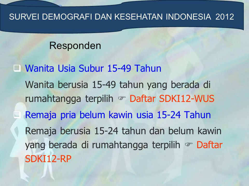 Responden  Wanita Usia Subur 15-49 Tahun Wanita berusia 15-49 tahun yang berada di rumahtangga terpilih  Daftar SDKI12-WUS  Remaja pria belum kawin