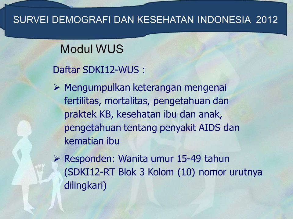 Modul WUS Daftar SDKI12-WUS :  Mengumpulkan keterangan mengenai fertilitas, mortalitas, pengetahuan dan praktek KB, kesehatan ibu dan anak, pengetahu