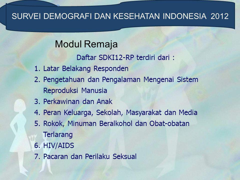 Modul Remaja Daftar SDKI12-RP terdiri dari : 1.Latar Belakang Responden 2.Pengetahuan dan Pengalaman Mengenai Sistem Reproduksi Manusia 3.Perkawinan d