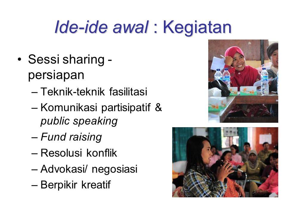 Ide-ide awal : Kegiatan Sessi sharing - persiapan –Teknik-teknik fasilitasi –Komunikasi partisipatif & public speaking –Fund raising –Resolusi konflik –Advokasi/ negosiasi –Berpikir kreatif