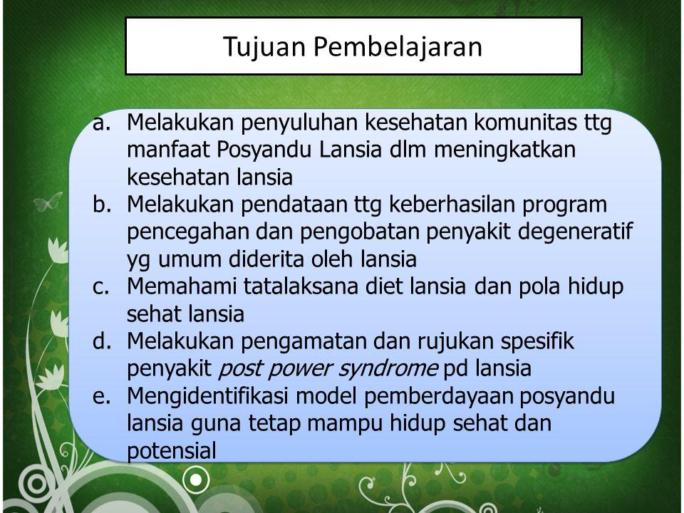 Tujuan Pembelajaran a.Melakukan penyuluhan kesehatan komunitas ttg manfaat Posyandu Lansia dlm meningkatkan kesehatan lansia b.Melakukan pendataan ttg