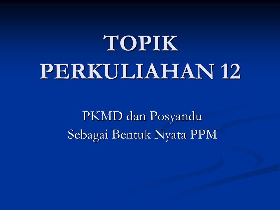 TOPIK PERKULIAHAN 12 PKMD dan Posyandu Sebagai Bentuk Nyata PPM