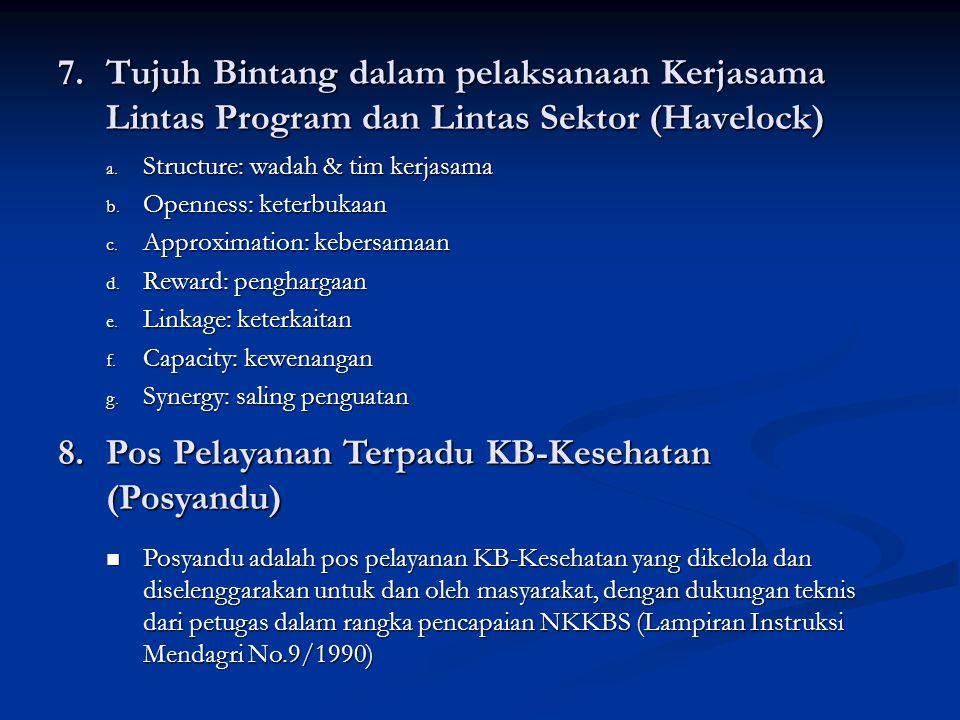 7.Tujuh Bintang dalam pelaksanaan Kerjasama Lintas Program dan Lintas Sektor (Havelock) a.
