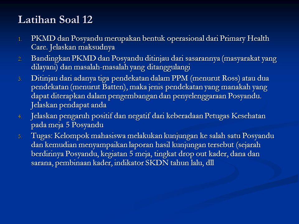 Latihan Soal 12 1.PKMD dan Posyandu merupakan bentuk operasional dari Primary Health Care.