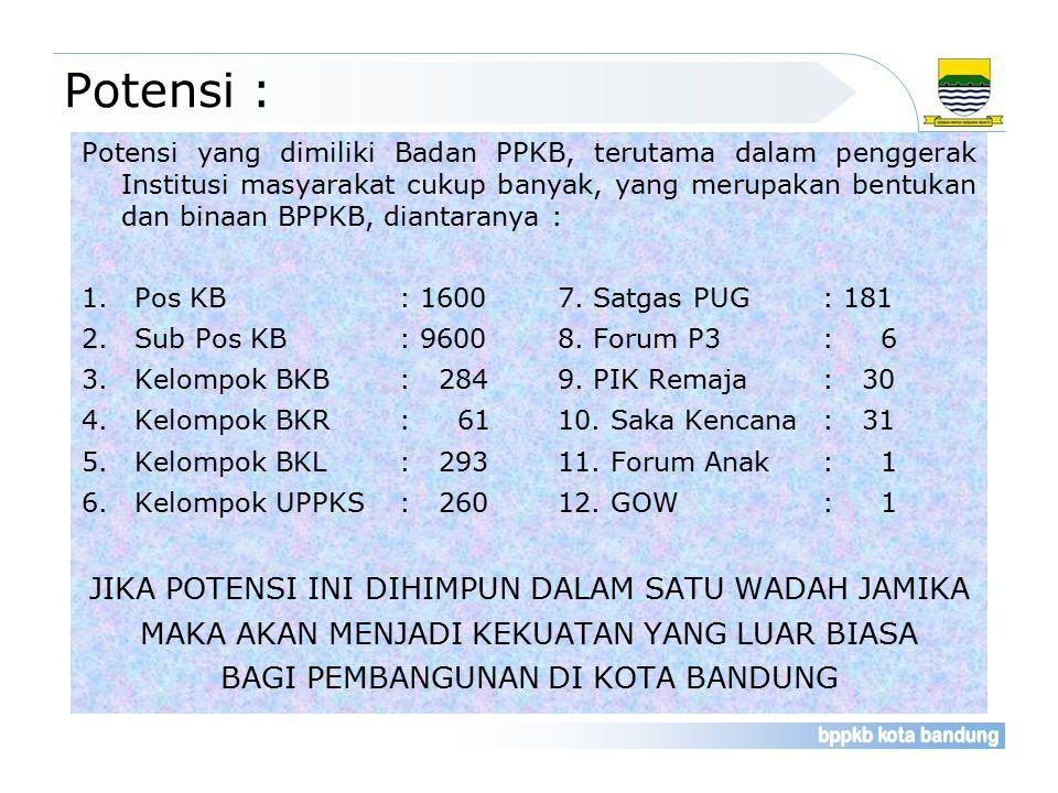 Potensi : Potensi yang dimiliki Badan PPKB, terutama dalam penggerak Institusi masyarakat cukup banyak, yang merupakan bentukan dan binaan BPPKB, diantaranya : 1.Pos KB: 16007.