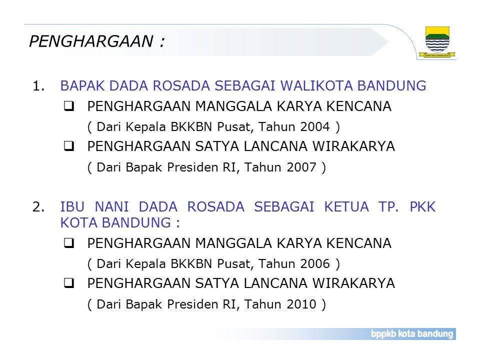 PENGHARGAAN : 1.BAPAK DADA ROSADA SEBAGAI WALIKOTA BANDUNG  PENGHARGAAN MANGGALA KARYA KENCANA ( Dari Kepala BKKBN Pusat, Tahun 2004 )  PENGHARGAAN SATYA LANCANA WIRAKARYA ( Dari Bapak Presiden RI, Tahun 2007 ) 2.IBU NANI DADA ROSADA SEBAGAI KETUA TP.