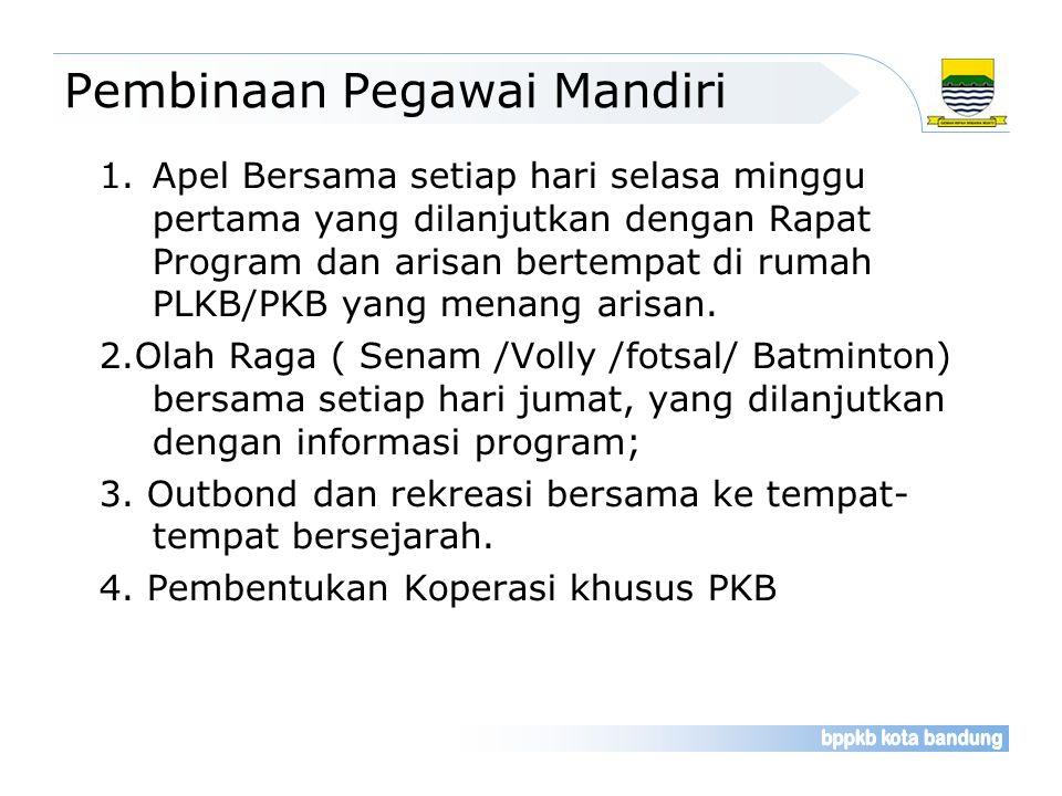 Pembinaan Pegawai Mandiri 1.Apel Bersama setiap hari selasa minggu pertama yang dilanjutkan dengan Rapat Program dan arisan bertempat di rumah PLKB/PKB yang menang arisan.