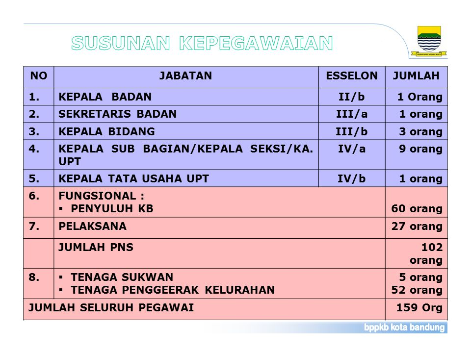 Profil Unsur Pimpinan Badan PPKB Kota Bandung Kepala Badan: Dra.