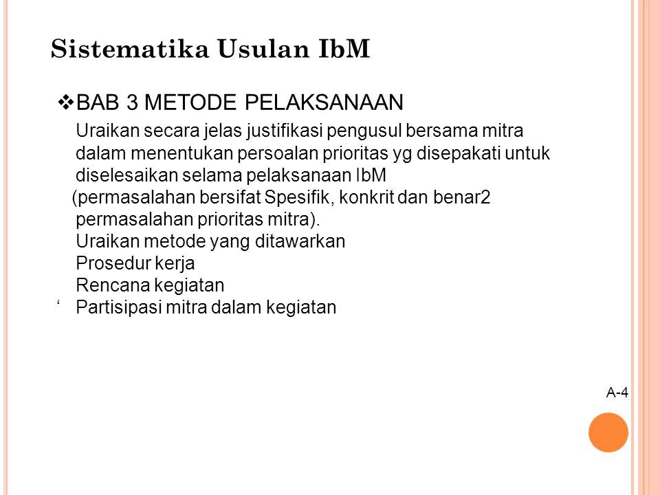 Sistematika Usulan IbM  BAB 3 METODE PELAKSANAAN Uraikan secara jelas justifikasi pengusul bersama mitra dalam menentukan persoalan prioritas yg dise