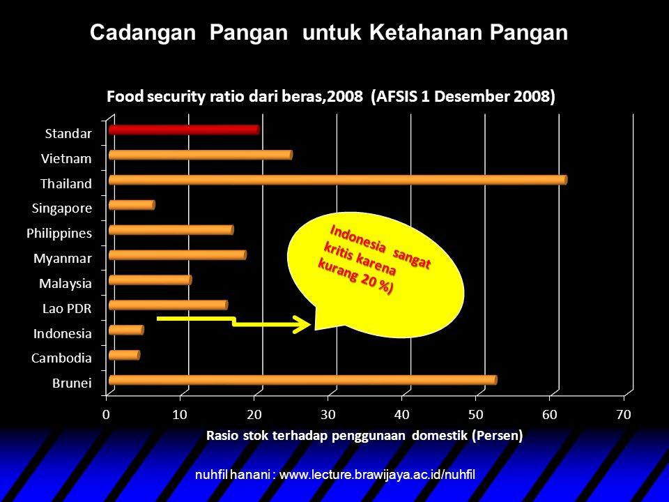 nuhfil hanani : www.lecture.brawijaya.ac.id/nuhfil Cadangan Pangan untuk Ketahanan Pangan Indonesia sangat kritis karena kurang 20 %)