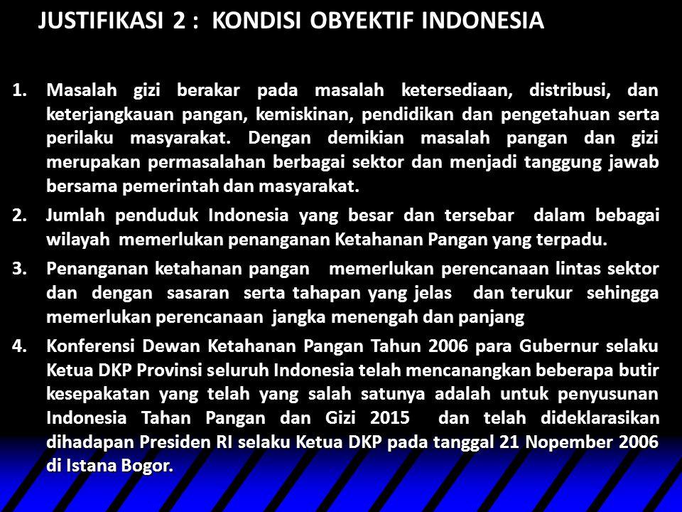 JUSTIFIKASI 2 : KONDISI OBYEKTIF INDONESIA 1.Masalah gizi berakar pada masalah ketersediaan, distribusi, dan keterjangkauan pangan, kemiskinan, pendid