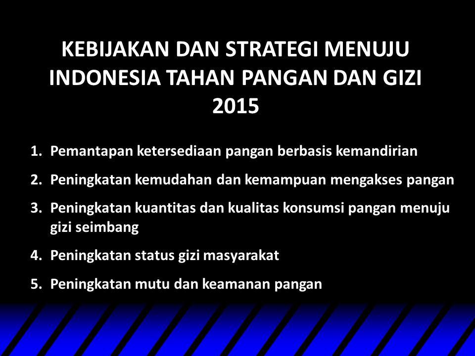 KEBIJAKAN DAN STRATEGI MENUJU INDONESIA TAHAN PANGAN DAN GIZI 2015 1.Pemantapan ketersediaan pangan berbasis kemandirian 2.Peningkatan kemudahan dan k