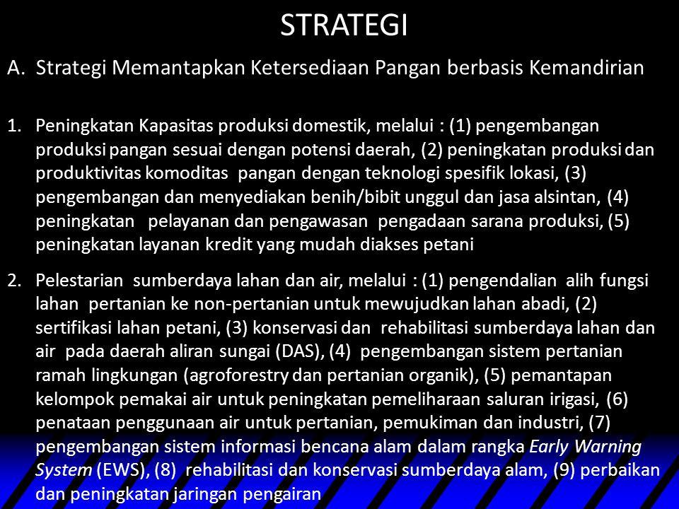 A. Strategi Memantapkan Ketersediaan Pangan berbasis Kemandirian STRATEGI 1.Peningkatan Kapasitas produksi domestik, melalui : (1) pengembangan produk