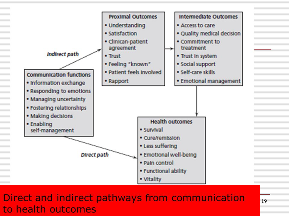 Direct and indirect pathways from communication to health outcomes 19