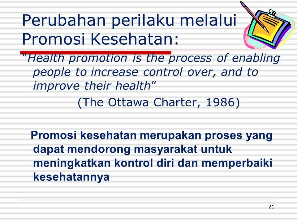 Health promotion is the process of enabling people to increase control over, and to improve their health (The Ottawa Charter, 1986) Promosi kesehatan merupakan proses yang dapat mendorong masyarakat untuk meningkatkan kontrol diri dan memperbaiki kesehatannya 21 Perubahan perilaku melalui Promosi Kesehatan: