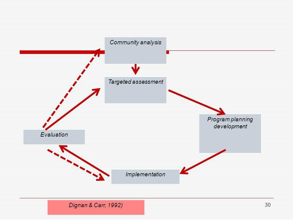 Community analysis Targeted assessment Program planning development Implementation Evaluation Dignan & Carr, 1992) 30