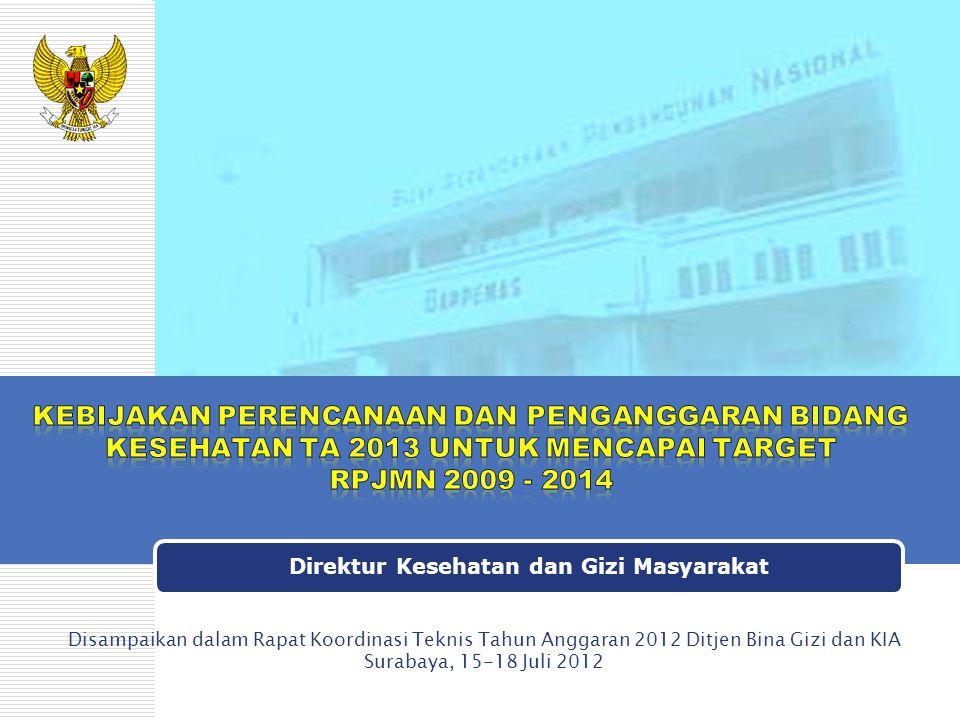 Direktur Kesehatan dan Gizi Masyarakat Disampaikan dalam Rapat Koordinasi Teknis Tahun Anggaran 2012 Ditjen Bina Gizi dan KIA Surabaya, 15-18 Juli 201