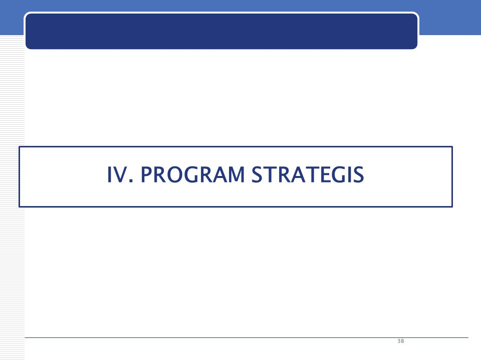 IV. PROGRAM STRATEGIS 38