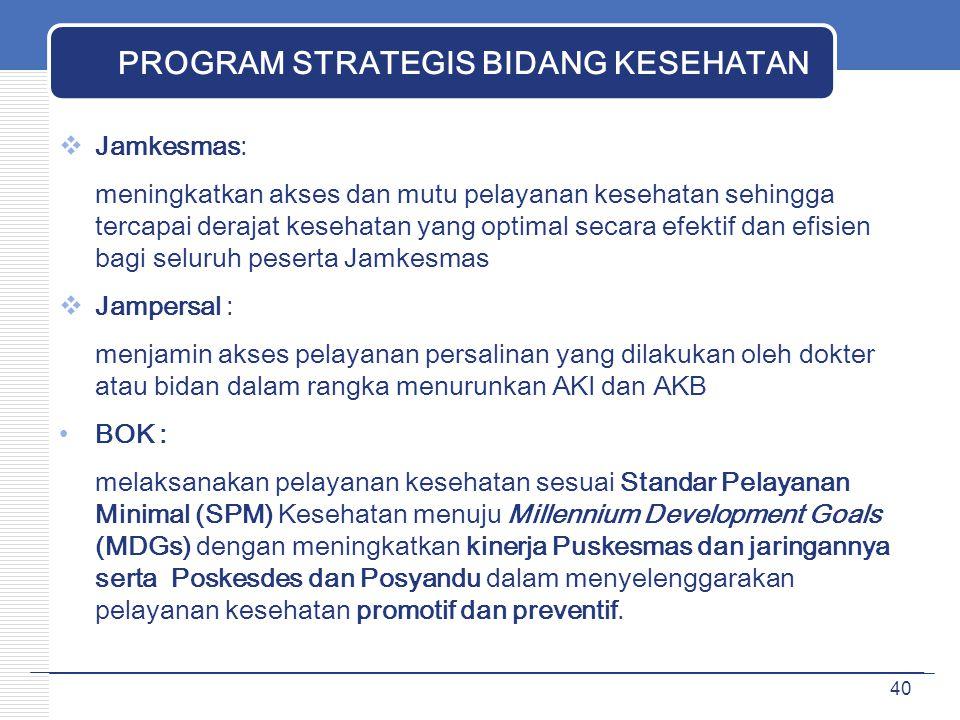 PROGRAM STRATEGIS BIDANG KESEHATAN  Jamkesmas: meningkatkan akses dan mutu pelayanan kesehatan sehingga tercapai derajat kesehatan yang optimal secar