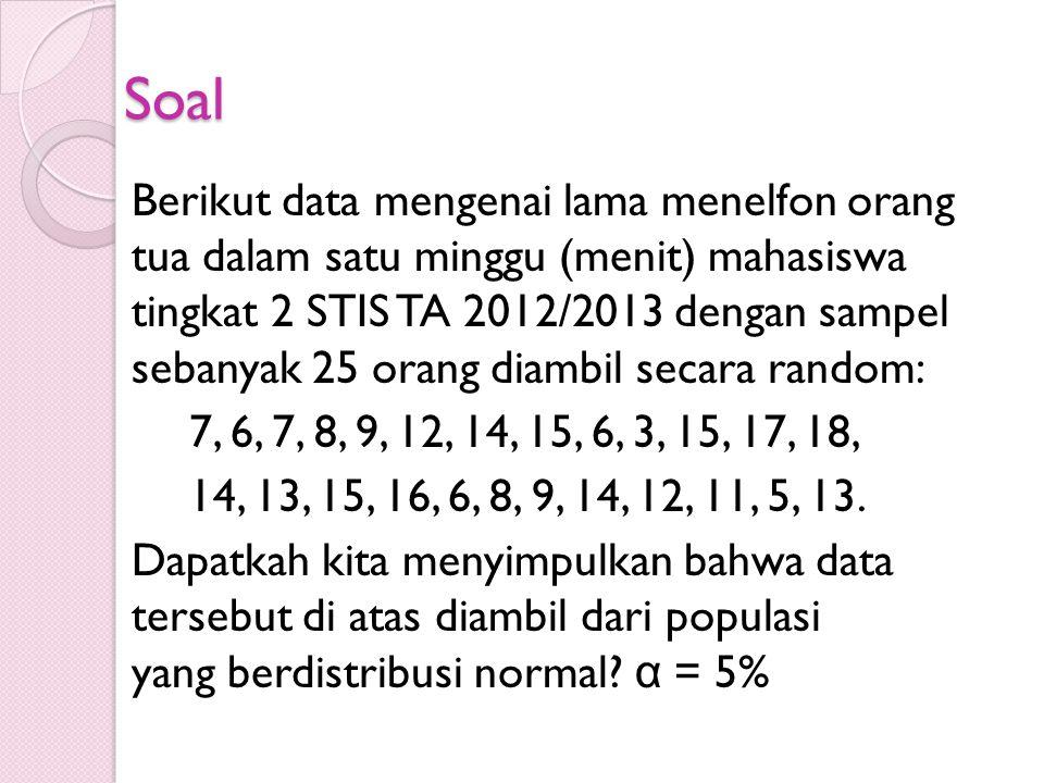  H 0 : tidak beda dengan populasi normal H 1 : ada beda populasi normal  α : 0,05  Statistik Uji Dimana: = peluang teoritis nilai-nilai  z hit (P(Z  z hit ) = frekuensi kumulatif empiris nilai-nilai  z hit Daerah Kritis Jika L maksimum > L (n), keputusannya tolak H 0 Dari Tabel Kolmogorov L (n) = L 0.05 (25) = 0.238