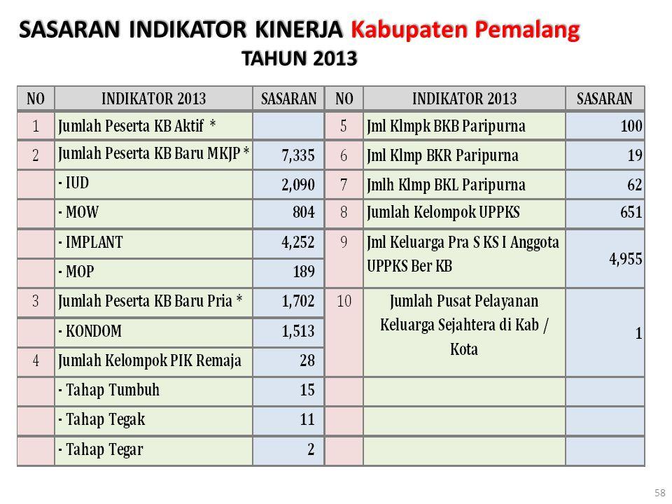 SASARAN INDIKATOR KINERJA Kabupaten Pemalang TAHUN 2013 58