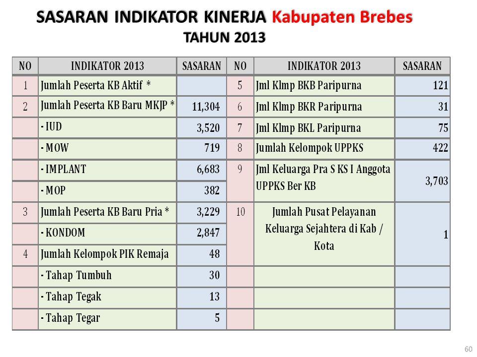 SASARAN INDIKATOR KINERJA Kabupaten Brebes TAHUN 2013 60