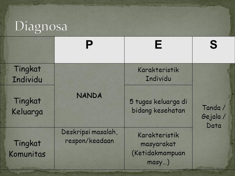 PES Tingkat Individu NANDA Karakteristik Individu Tanda / Gejala / Data Tingkat Keluarga 5 tugas keluarga di bidang kesehatan Tingkat Komunitas Deskripsi masalah, respon/keadaan Karakteristik masyarakat (Ketidakmampuan masy…)