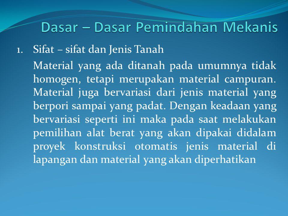 1.Sifat – sifat dan Jenis Tanah Material yang ada ditanah pada umumnya tidak homogen, tetapi merupakan material campuran.