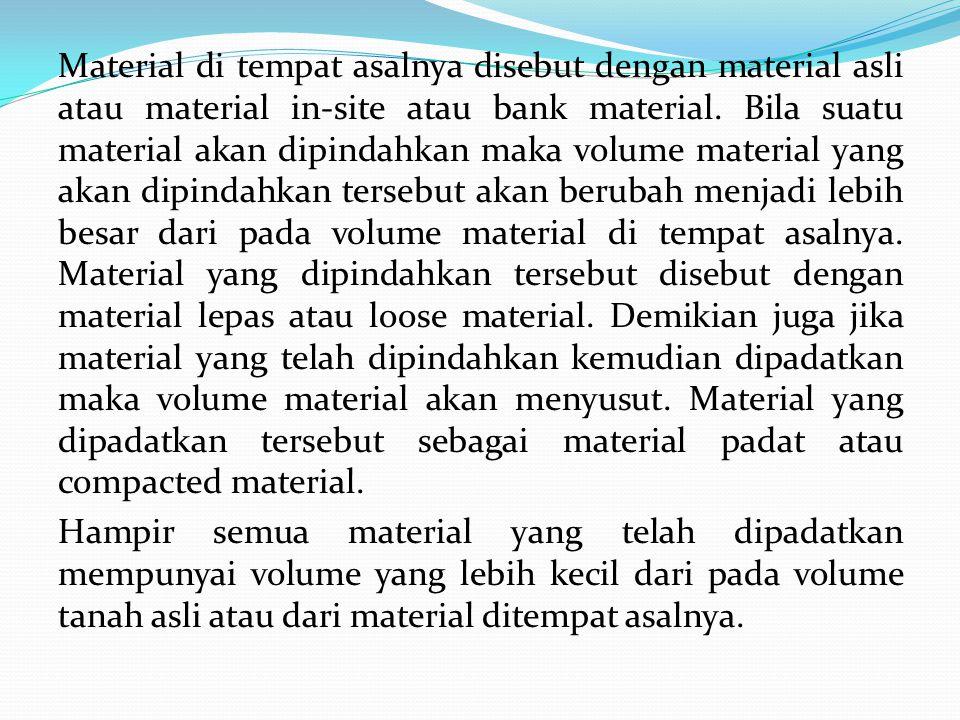 Material di tempat asalnya disebut dengan material asli atau material in-site atau bank material.