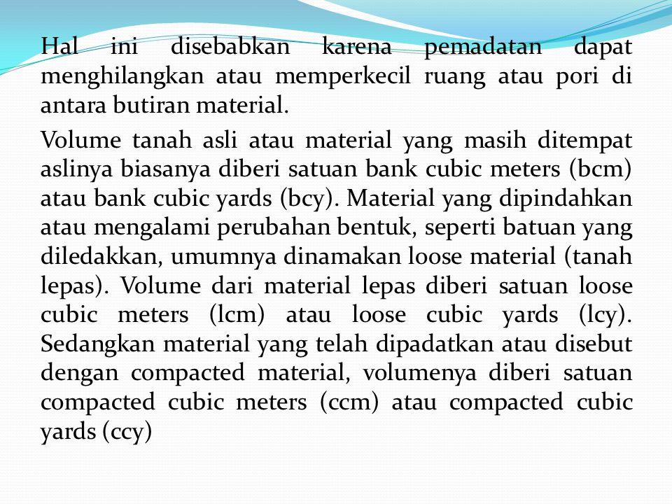 Volume material pada umumnya akan meningkat pada saat digali.