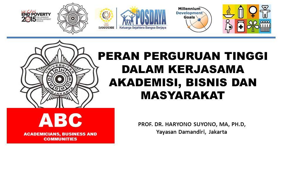 PERAN PERGURUAN TINGGI DALAM KERJASAMA AKADEMISI, BISNIS DAN MASYARAKAT PROF. DR. HARYONO SUYONO, MA, PH.D, Yayasan Damandiri, Jakarta ABC ACADEMICIAN