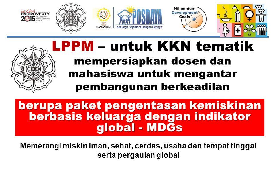 LPPM – untuk KKN tematik mempersiapkan dosen dan mahasiswa untuk mengantar pembangunan berkeadilan berupa paket pengentasan kemiskinan berbasis keluar