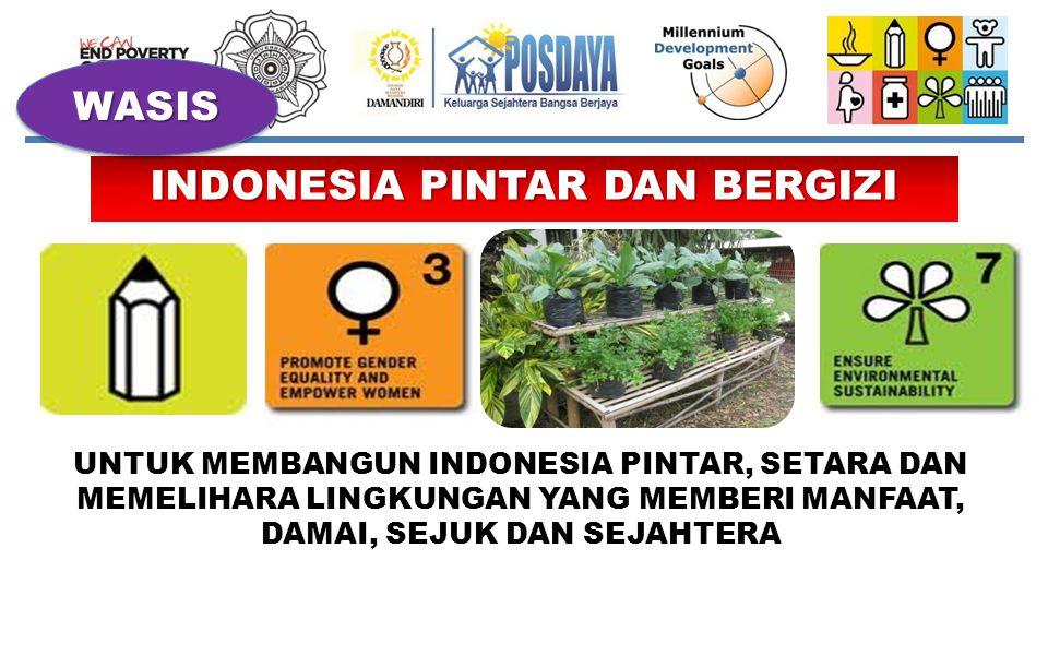 INDONESIA PINTAR DAN BERGIZI UNTUK MEMBANGUN INDONESIA PINTAR, SETARA DAN MEMELIHARA LINGKUNGAN YANG MEMBERI MANFAAT, DAMAI, SEJUK DAN SEJAHTERA WASIS