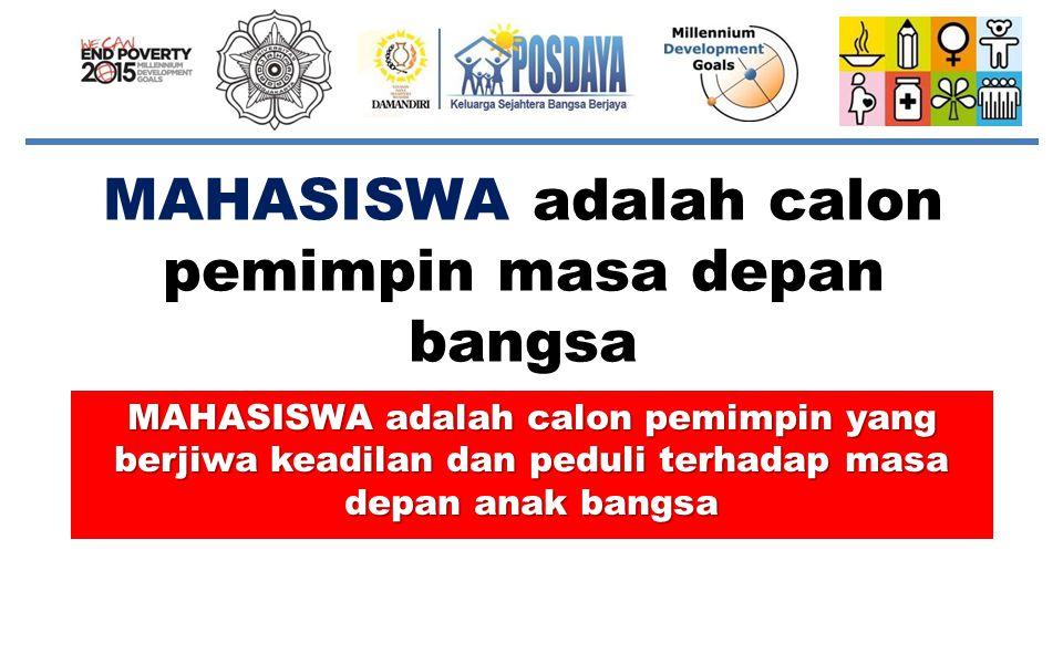MAHASISWA adalah calon pemimpin masa depan bangsa MAHASISWA adalah calon pemimpin yang berjiwa keadilan dan peduli terhadap masa depan anak bangsa