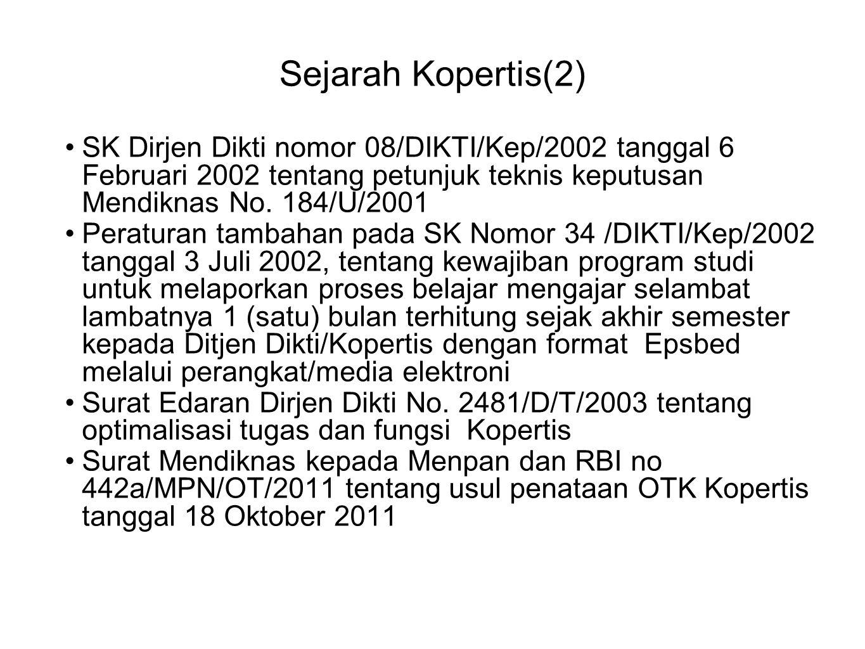 Sejarah Kopertis(2) SK Dirjen Dikti nomor 08/DIKTI/Kep/2002 tanggal 6 Februari 2002 tentang petunjuk teknis keputusan Mendiknas No. 184/U/2001 Peratur