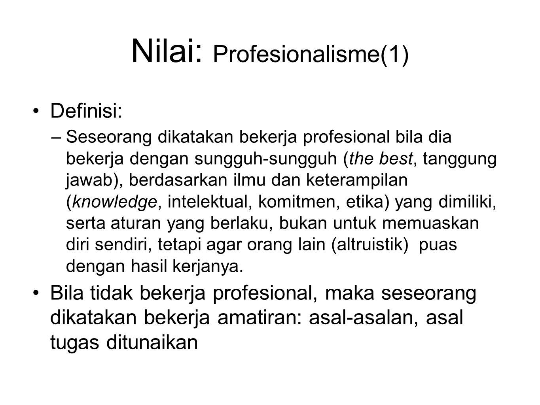 Nilai: Profesionalisme(1) Definisi: –Seseorang dikatakan bekerja profesional bila dia bekerja dengan sungguh-sungguh (the best, tanggung jawab), berda