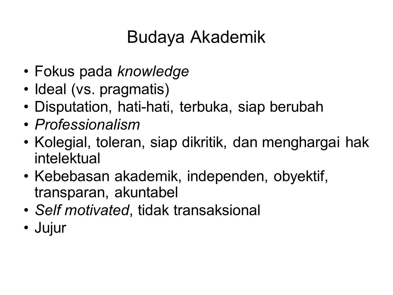 Budaya Akademik Fokus pada knowledge Ideal (vs. pragmatis) Disputation, hati-hati, terbuka, siap berubah Professionalism Kolegial, toleran, siap dikri