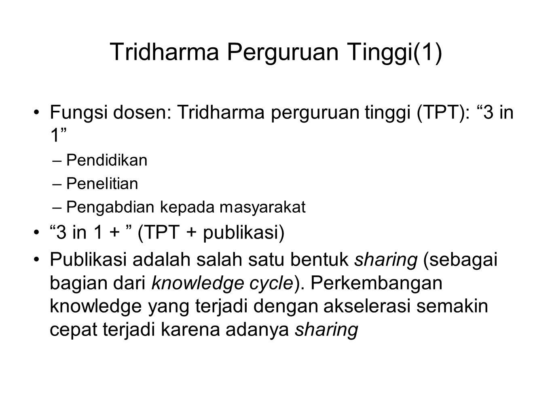 """Tridharma Perguruan Tinggi(1) Fungsi dosen: Tridharma perguruan tinggi (TPT): """"3 in 1"""" –Pendidikan –Penelitian –Pengabdian kepada masyarakat """"3 in 1 +"""