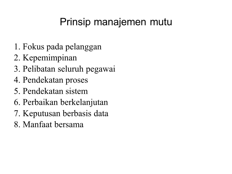 Prinsip manajemen mutu 1. Fokus pada pelanggan 2. Kepemimpinan 3. Pelibatan seluruh pegawai 4. Pendekatan proses 5. Pendekatan sistem 6. Perbaikan ber