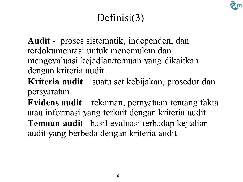 Definisi(3) Audit - proses sistematik, independen, dan terdokumentasi untuk menemukan dan mengevaluasi kejadian/temuan yang dikaitkan dengan kriteria