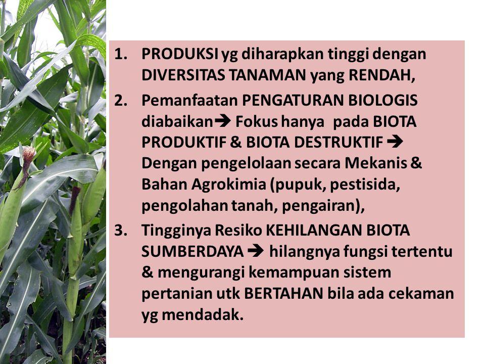 1.PRODUKSI yg diharapkan tinggi dengan DIVERSITAS TANAMAN yang RENDAH, 2.Pemanfaatan PENGATURAN BIOLOGIS diabaikan  Fokus hanya pada BIOTA PRODUKTIF & BIOTA DESTRUKTIF  Dengan pengelolaan secara Mekanis & Bahan Agrokimia (pupuk, pestisida, pengolahan tanah, pengairan), 3.Tingginya Resiko KEHILANGAN BIOTA SUMBERDAYA  hilangnya fungsi tertentu & mengurangi kemampuan sistem pertanian utk BERTAHAN bila ada cekaman yg mendadak.